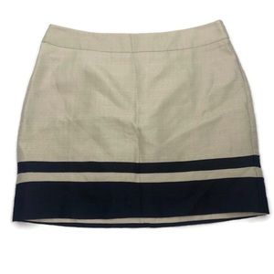 Ann Taylor LOFT Beige Skirt With Blue Trim